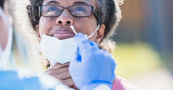 Woman receiving swab test