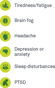 Tiredness/fatigue, Brain fog, Headache, PTSDDepression or anxiety, Sleep disturbances,